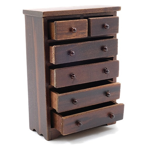 Dollhouse Miniature Chest of Drawers, Walnut (CLA10984); drawers shown open
