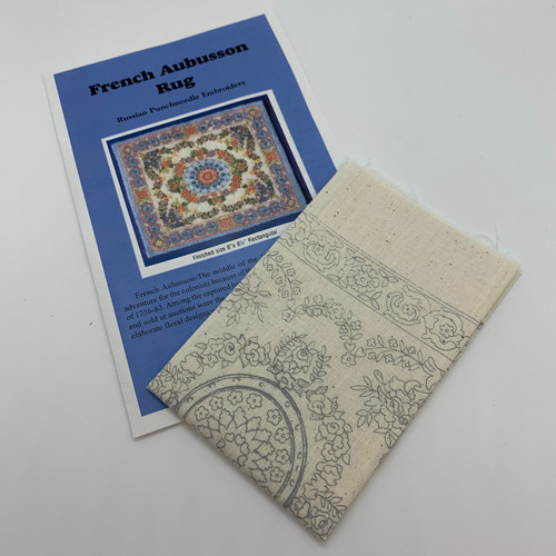 French Aubusson Rug (BNAMR6-F); instructions and silk-screen fabric shown flat