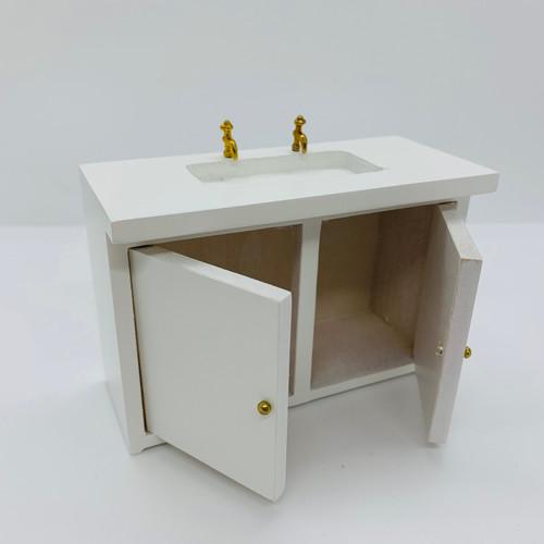 Dollhouse Miniature Kitchen Cabinet Sink (AZD3777B); doors open