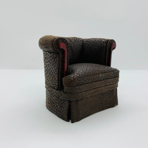 Dollhouse Miniature Distressed Brown Leather Look Club Chair BES2419DMH
