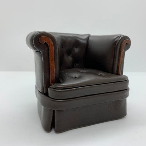Dollhouse Miniature Brown Leather-Look Club Chair (AZP6325B) side/front