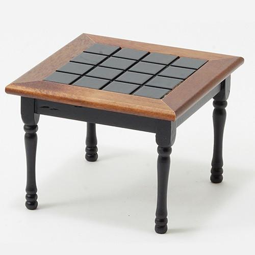 Square Kitchen Table, Black with Walnut Trim (CLA10103)