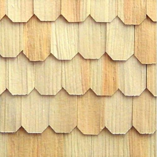 AL63XL - Extra Long Pine Hexagon Shingles; installed section shown