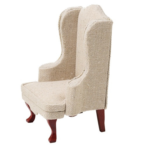 Chair, Mahogany with Beige Fabric (CLA10807); side angled