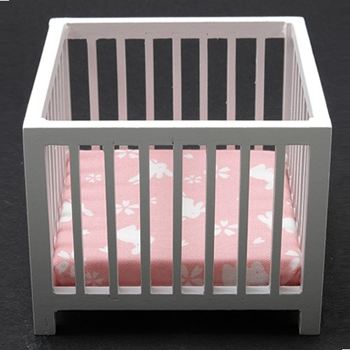 Slatted Playpen, White with Pink Fabric (CLA10605)