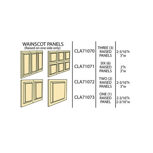 Illustration of four different wainscot panels available from Classics; NOTE that CLA71073 has been discontinued