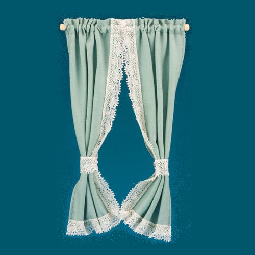 Green miniature tie back curtains