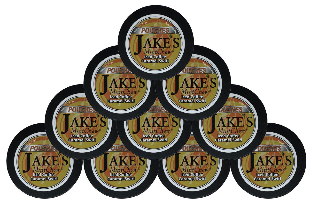 Jake's Mint Chew Pouches Iced Coffee Caramel Swirl 10 Cans