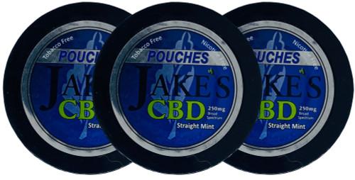 Jake's Mint Chew CBD Pouches Straight Mint 3 Cans