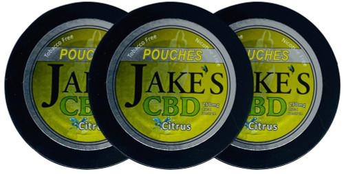 Jake's Mint Chew CBD Pouches Citrus 3 Cans