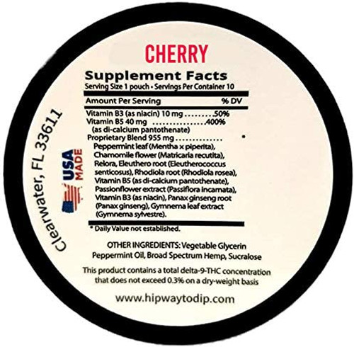 Teaza Herbal CBD Hemp Cherry Pouches back of can