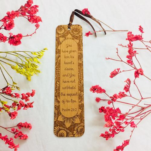 Bookmark Gỗ Lớn - Thi-thiên 21:2 Tiếng Anh - BM-GK-L-19
