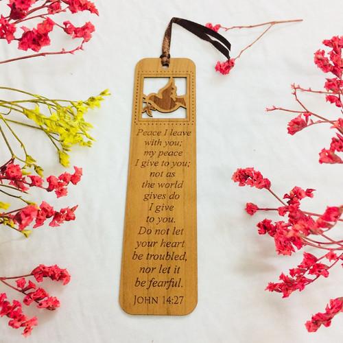 Bookmark Gỗ Lớn - Giăng 14:27 Tiếng Anh - BM-GK-L-23