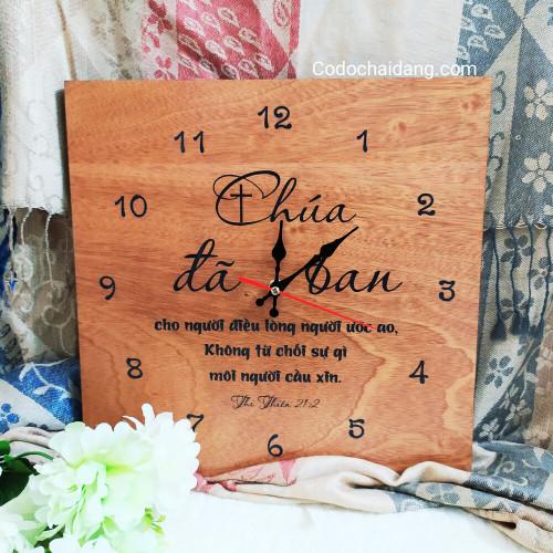 Đồng Hồ Gỗ Vuông - Thi-thiên 21:2 - DH-1014