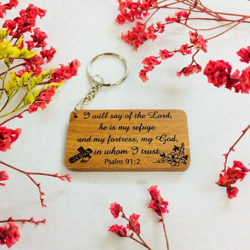 Móc Khoá Gỗ - Thi-thiên 91:2 Tiếng Anh - MK-GV-22