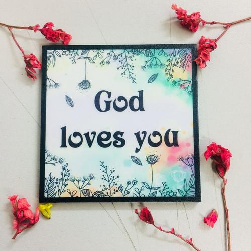 Nam Châm Dán Tủ Lạnh Vuông - God Loves You - NC-S-09