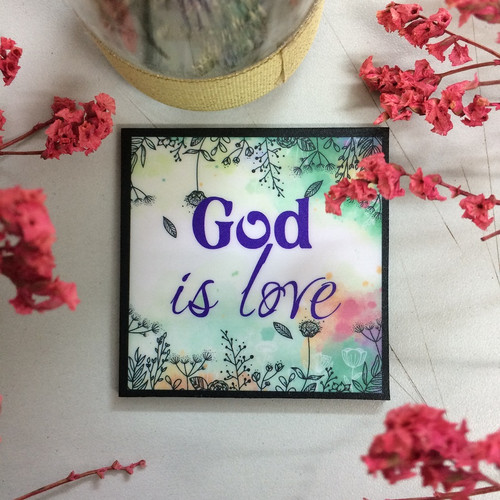 Nam Châm Dán Tủ Lạnh Vuông - God Is Love - NC-S-12