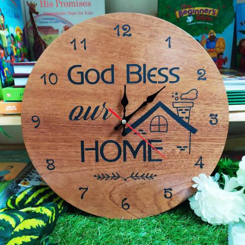 Đồng Hồ Gỗ Tròn - God Bless Our Home - DH-1082