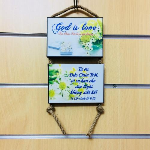 Tranh Lamina Cơ Đốc Dây Treo - God Is Love - II Cô-rinh-tô 9:15 - 10X14cm