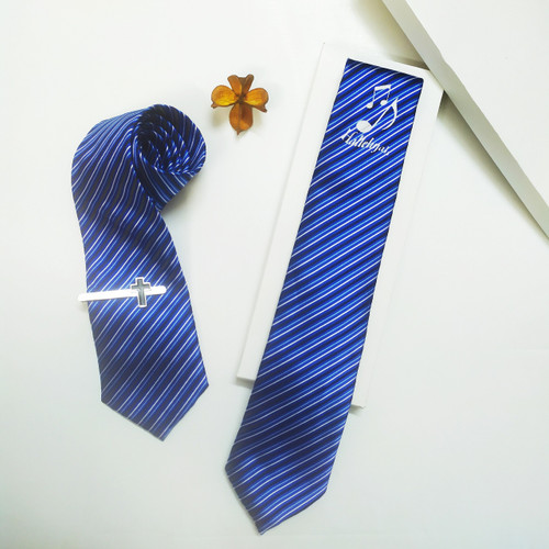 Cà Vạt - Hallelujah Nốt Nhạc - Màu xanh sọc - SPKC-001155