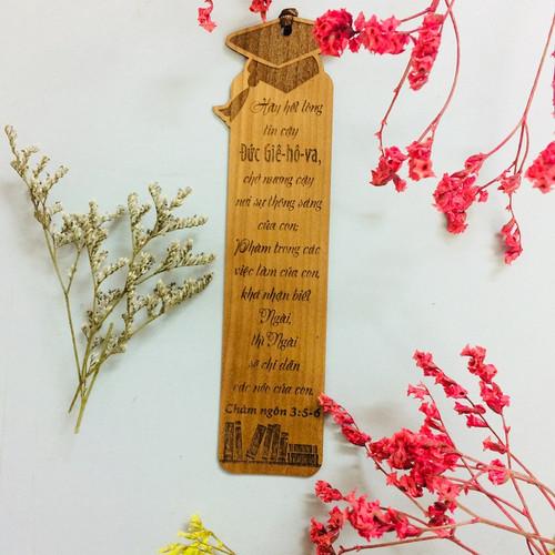 Bookmark Gỗ lớn - Châm ngôn 3:5-6 - BM-GK-L-26