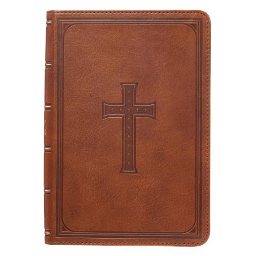 Kinh Thánh Tiếng Anh - Bản King James Version KJV - Large Print Compact - Bìa Nâu Da Bò Thập Giá - KJV083