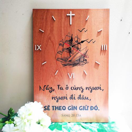 Đồng Hồ Gỗ 30x45 - Sáng-thế Ký 28:15 - DH-1483