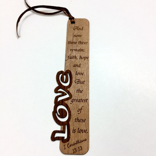 Bookmark Gỗ Nhỏ - Love - I Cô-rinh-tô 13:13 (Tiếng Anh) - BM-1543