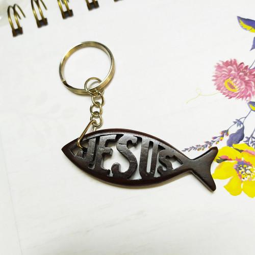 Móc Khóa Gỗ - Con Cá Jesus - MK-JS04