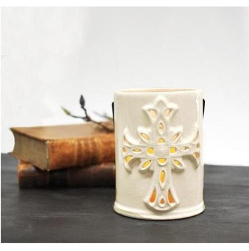 Đèn Lồng Gốm Sứ - Thập Giá - Large Cross Lantern With Crackle Finish - TT-1934