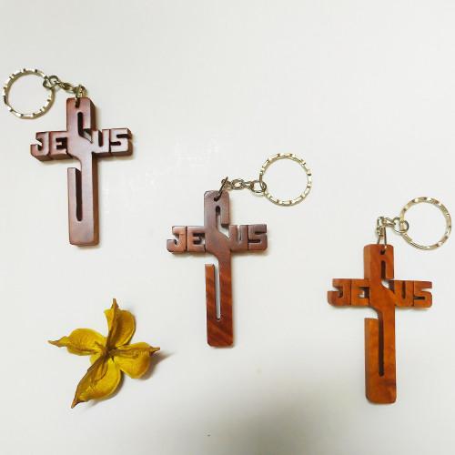 Móc Khóa Gỗ - Thập giá Jesus - MK-JS01