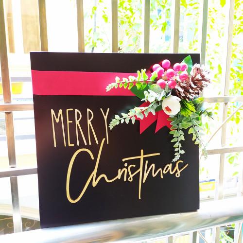 Bảng Gỗ Trang Trí Treo Tường Giáng Sinh 30x30 - Merry Christmas - DG-0625