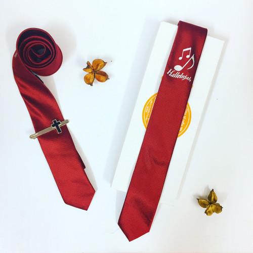 Cà Vạt Nhỏ - Hallelujah Nốt Nhạc - Màu Đỏ Đô - SPKC-000741