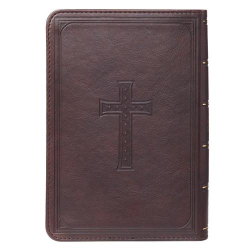 Kinh Thánh Tiếng Anh - Bản King James Version KJV - Bìa Da Màu Nâu Thập Giá - KJV082