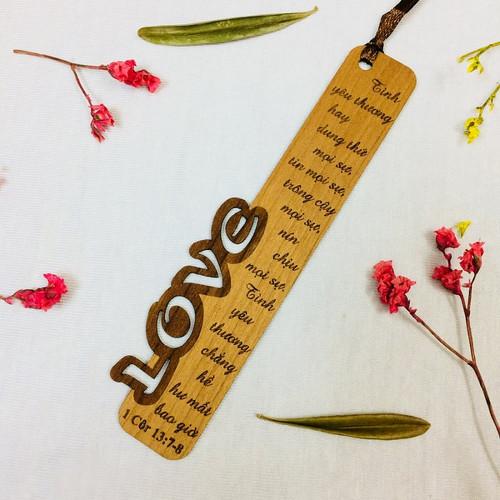Bookmark Gỗ Nhỏ -  Love - I Cô-rinh-tô 13:7-8 - BM-GK-S-05
