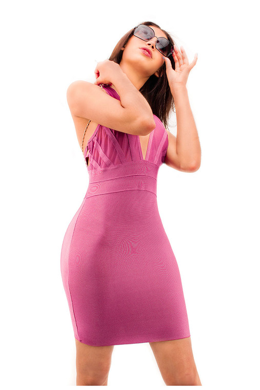 Valata Mesh Insert Bodycon Dress