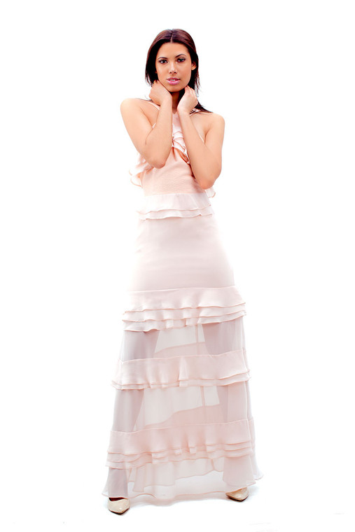 Bam Vam Halter Maxi Vacation Dress With Tiers