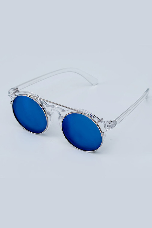 Retronia Clear White and Blue Sunglasses