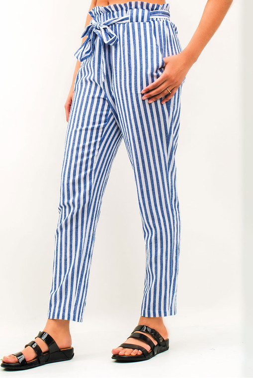 Paper Bag Blue Stripe Skinny Pants