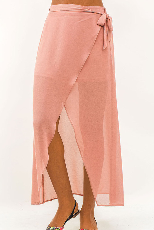 Self tie waist skirt and a side split Pure Mauve