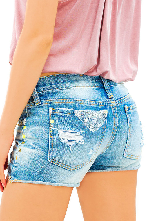 Soiree Wash Distressed Denim Shorts