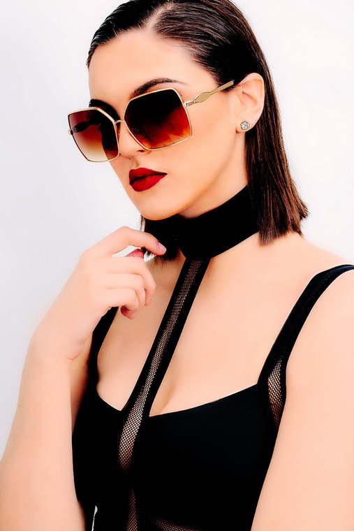 Bonbon Gold Oversized Square Sunglasses