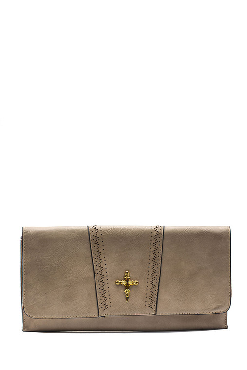 Envelope Clutch Cross Bag Taupe