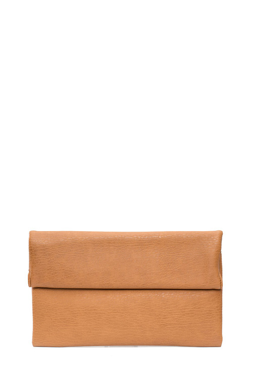 Double Roll Folding Magnetic Closure Clutch Tan