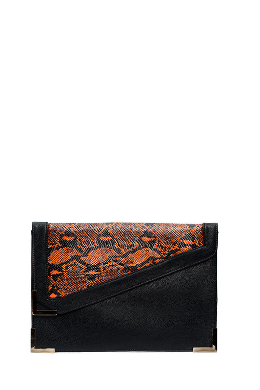 Envelope two tone faux python clutch Black