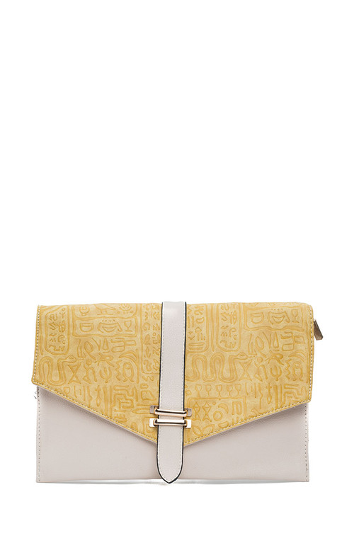 Envelope  Two Tone Clutch Yellow & Beige