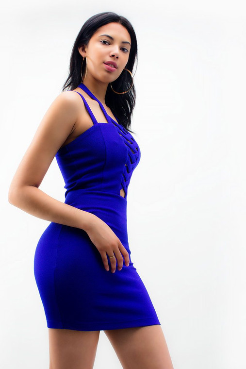 Blue Mini Bodycon Caged Scuba Dress