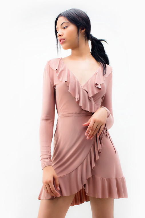 Cami Strap Ruffle Detailed Wrap Dress
