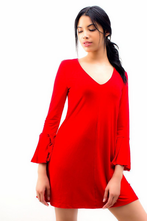 Long Sleeve Shift Dress Red
