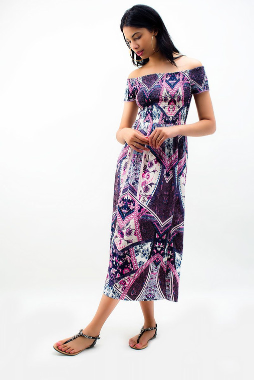 Printed Off the Shoulder Maxi Dress